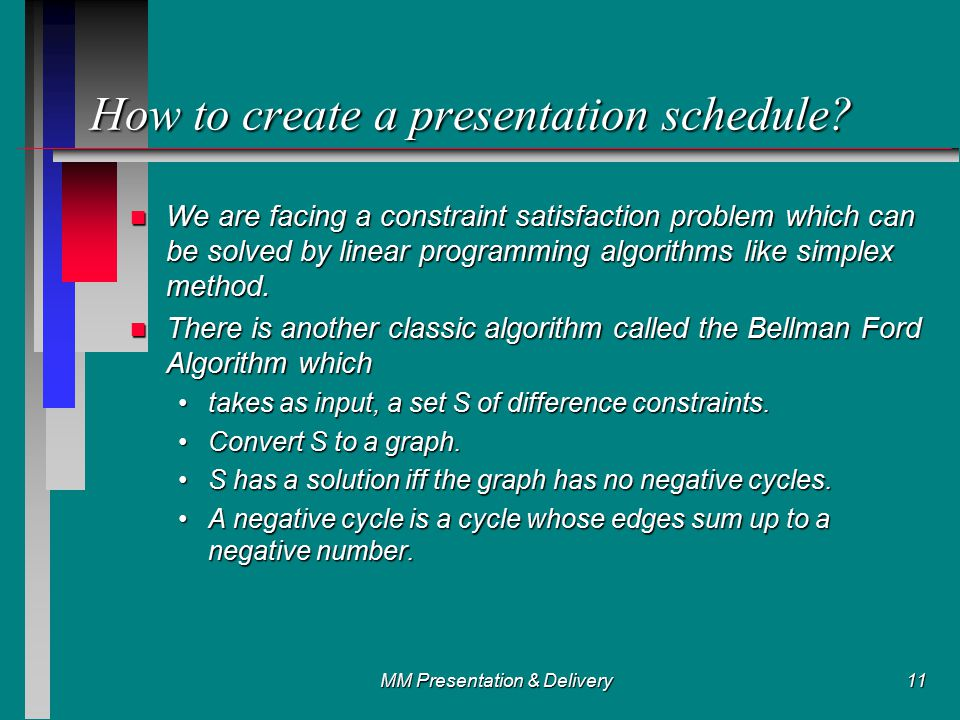 MM Presentation & Delivery11 How to create a presentation schedule.