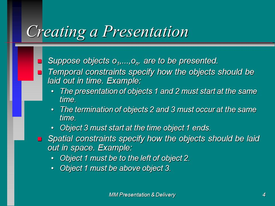 MM Presentation & Delivery4 Creating a Presentation n Suppose objects o 1,...,o n.