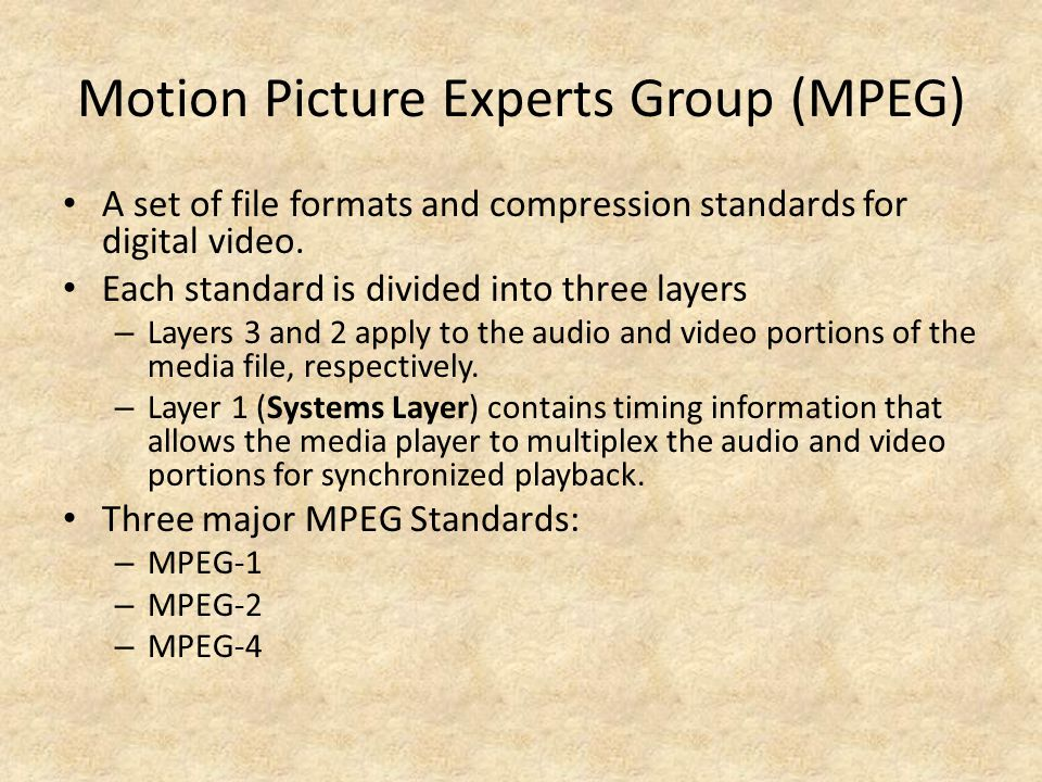 Motion Picture Experts Group (MPEG) A set of file formats and compression standards for digital video.