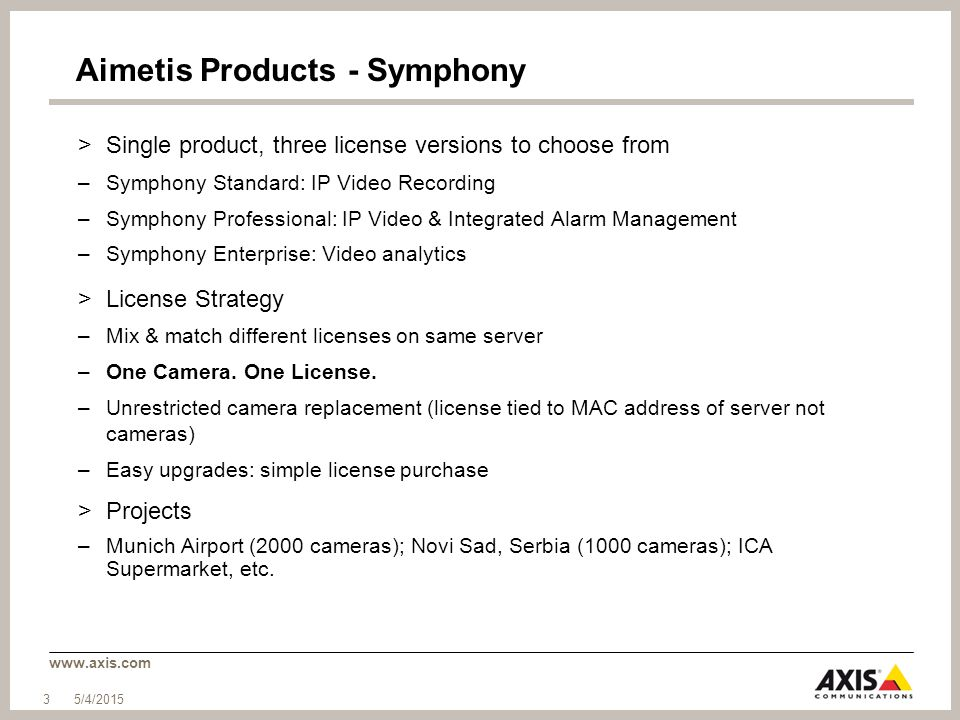 www.axis.com Aimetis Products - Symphony >Single product, three license versions to choose from –Symphony Standard: IP Video Recording –Symphony Profe