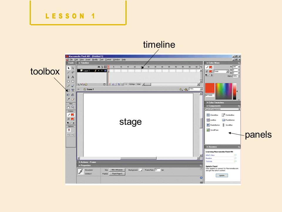 toolbox stage timeline panels