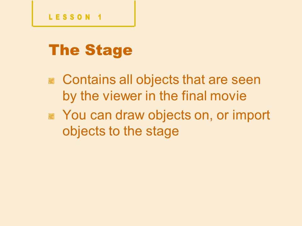 The Stage Contains all objects that are seen by the viewer in the final movie You can draw objects on, or import objects to the stage