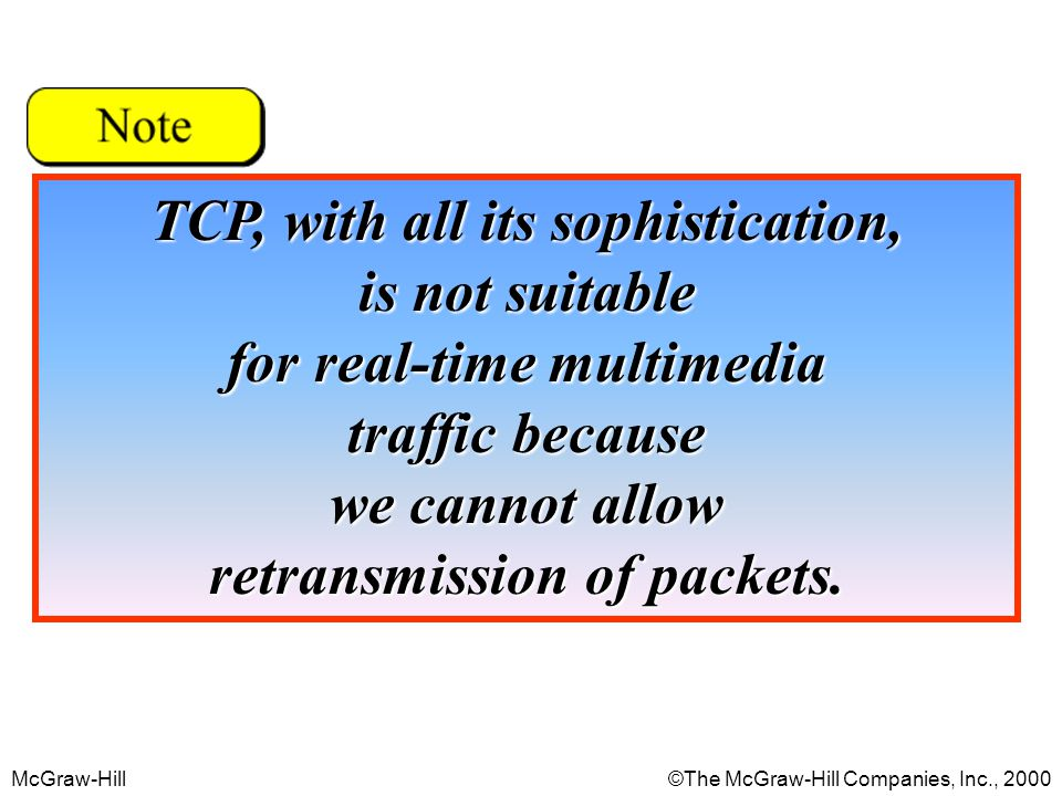 McGraw-Hill©The McGraw-Hill Companies, Inc., 2000 TCP, with all its sophistication, is not suitable for real-time multimedia traffic because we cannot allow retransmission of packets.