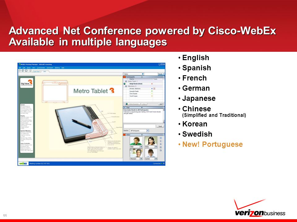11 Advanced Net Conference powered by Cisco-WebEx Available in multiple languages English Spanish French German Japanese Chinese (Simplified and Traditional) Korean Swedish New.