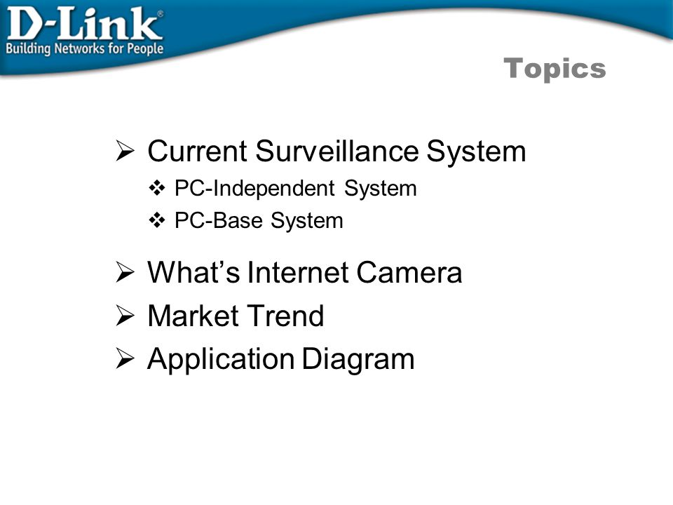  Current Surveillance System  PC-Independent System  PC-Base System  What's Internet Camera  Market Trend  Application Diagram Topics