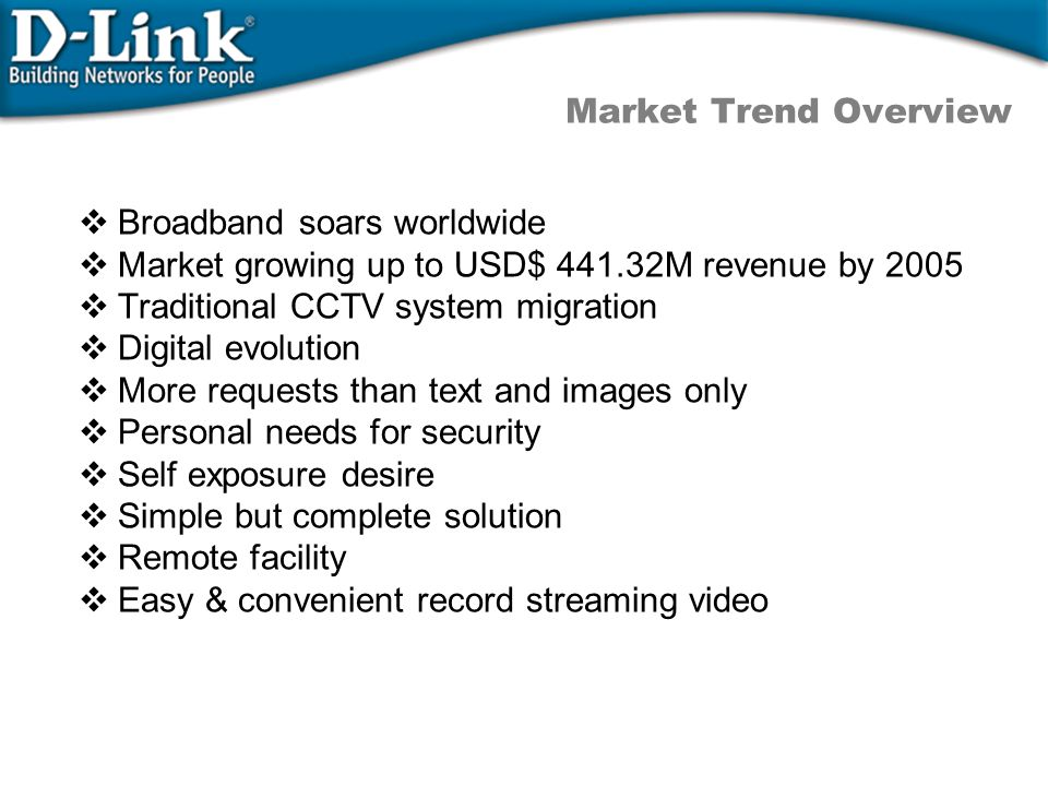 Market Trend Overview  Broadband soars worldwide  Market growing up to USD$ 441.32M revenue by 2005  Traditional CCTV system migration  Digital evolution  More requests than text and images only  Personal needs for security  Self exposure desire  Simple but complete solution  Remote facility  Easy & convenient record streaming video