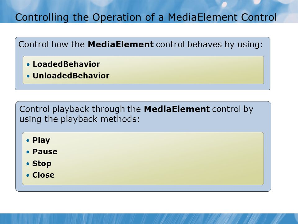 Controlling the Operation of a MediaElement Control Control how the MediaElement control behaves by using: LoadedBehavior UnloadedBehavior Control pla