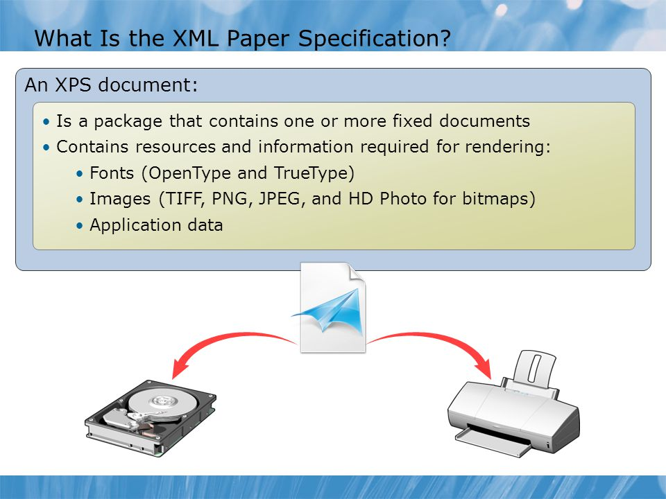 What Is the XML Paper Specification? An XPS document: Is a package that contains one or more fixed documents Contains resources and information requir
