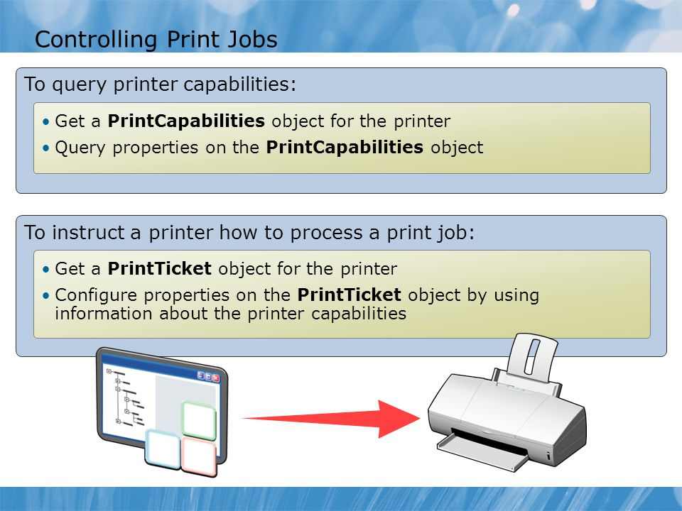 Controlling Print Jobs To query printer capabilities: Get a PrintCapabilities object for the printer Query properties on the PrintCapabilities object