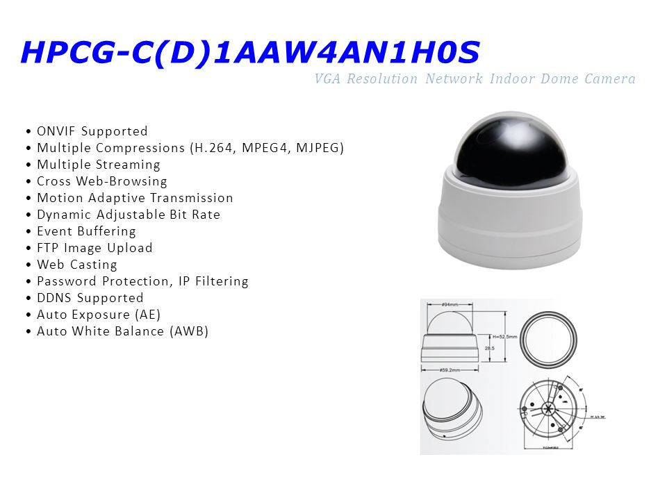 HPCG-C(D)1AAW4AN1H0S VGA Resolution Network Indoor Dome Camera ONVIF Supported Multiple Compressions (H.264, MPEG4, MJPEG) Multiple Streaming Cross We