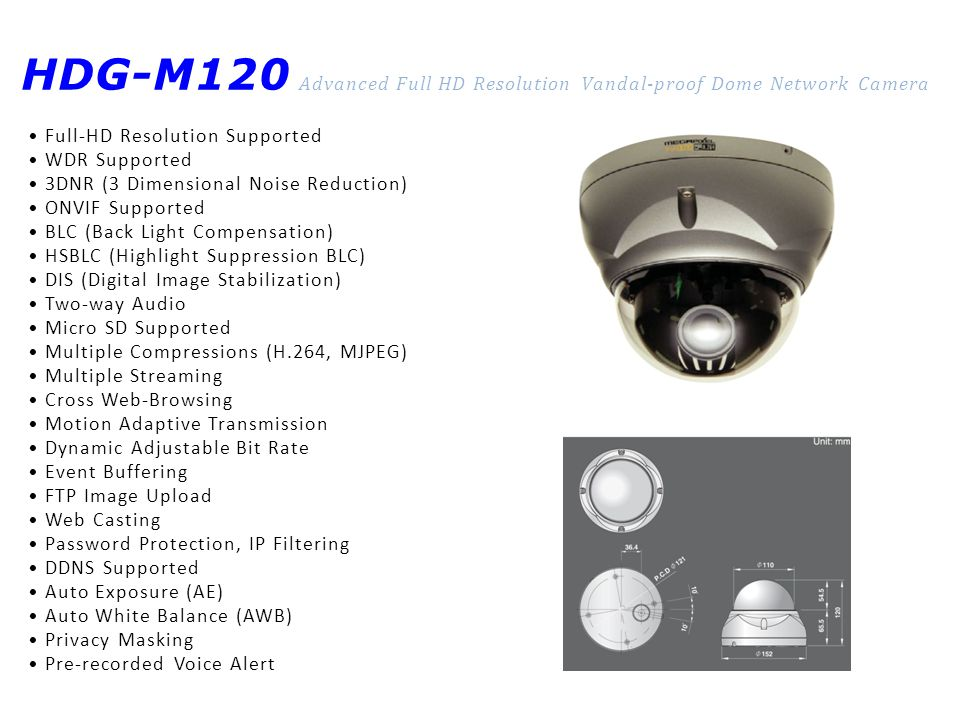 HDG-M120 Advanced Full HD Resolution Vandal-proof Dome Network Camera Full-HD Resolution Supported WDR Supported 3DNR (3 Dimensional Noise Reduction)
