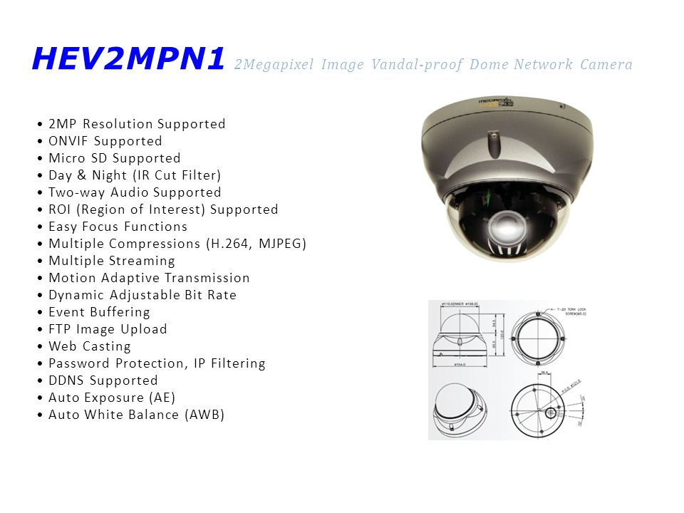 HEV2MPN1 2Megapixel Image Vandal-proof Dome Network Camera 2MP Resolution Supported ONVIF Supported Micro SD Supported Day & Night (IR Cut Filter) Two