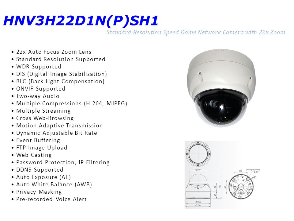 HNV3H22D1N(P)SH1 Standard Resolution Speed Dome Network Camera with 22x Zoom 22x Auto Focus Zoom Lens Standard Resolution Supported WDR Supported DIS