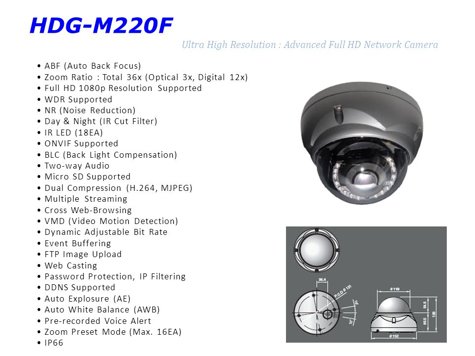 HDG-M220F Ultra High Resolution : Advanced Full HD Network Camera ABF (Auto Back Focus) Zoom Ratio : Total 36x (Optical 3x, Digital 12x) Full HD 1080p