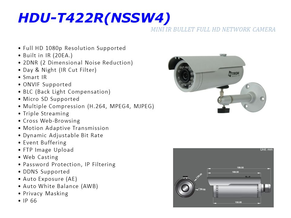 HDU-T422R(NSSW4) MINI IR BULLET FULL HD NETWORK CAMERA Full HD 1080p Resolution Supported Built in IR (20EA.) 2DNR (2 Dimensional Noise Reduction) Day