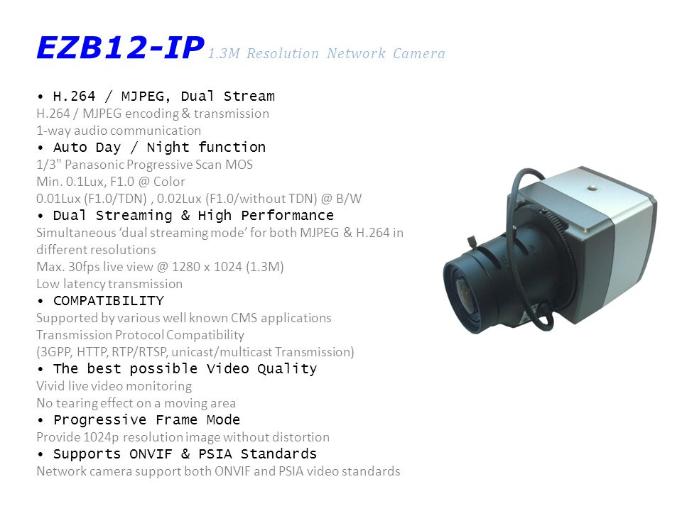 EZB12-IP 1.3M Resolution Network Camera H.264 / MJPEG, Dual Stream H.264 / MJPEG encoding & transmission 1-way audio communication Auto Day / Night fu
