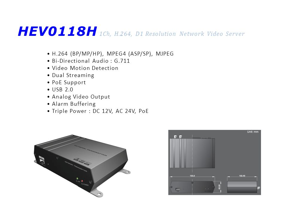 HEV0118H 1Ch, H.264, D1 Resolution Network Video Server H.264 (BP/MP/HP), MPEG4 (ASP/SP), MJPEG Bi-Directional Audio : G.711 Video Motion Detection Du