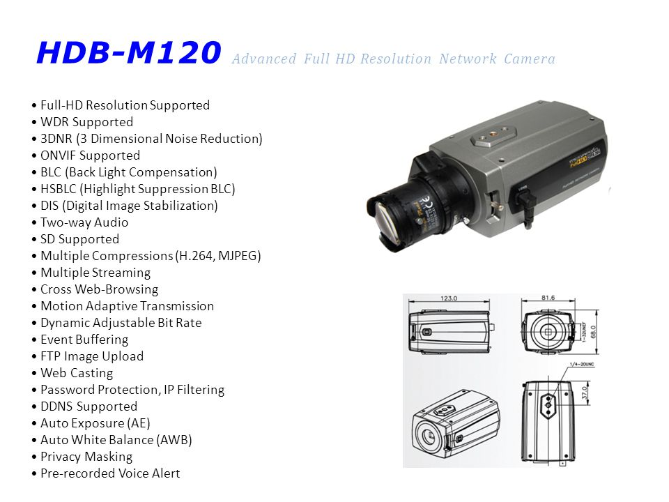 HDB-M120 Advanced Full HD Resolution Network Camera Full-HD Resolution Supported WDR Supported 3DNR (3 Dimensional Noise Reduction) ONVIF Supported BL