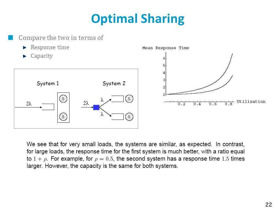 Optimal Sharing Compare the two in terms of Response time Capacity 22