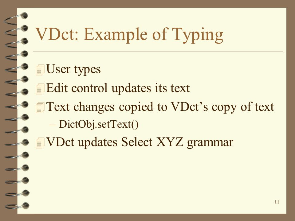 11 VDct: Example of Typing 4 User types 4 Edit control updates its text 4 Text changes copied to VDct's copy of text –DictObj.setText() 4 VDct updates Select XYZ grammar