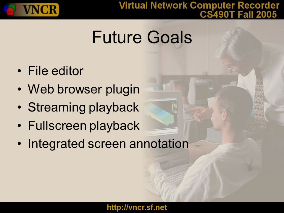 Future Goals File editor Web browser plugin Streaming playback Fullscreen playback Integrated screen annotation