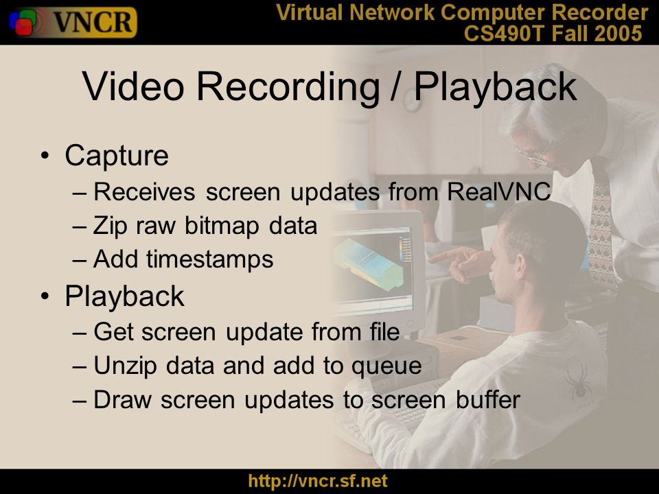 Video Recording / Playback Capture –Receives screen updates from RealVNC –Zip raw bitmap data –Add timestamps Playback –Get screen update from file –Unzip data and add to queue –Draw screen updates to screen buffer