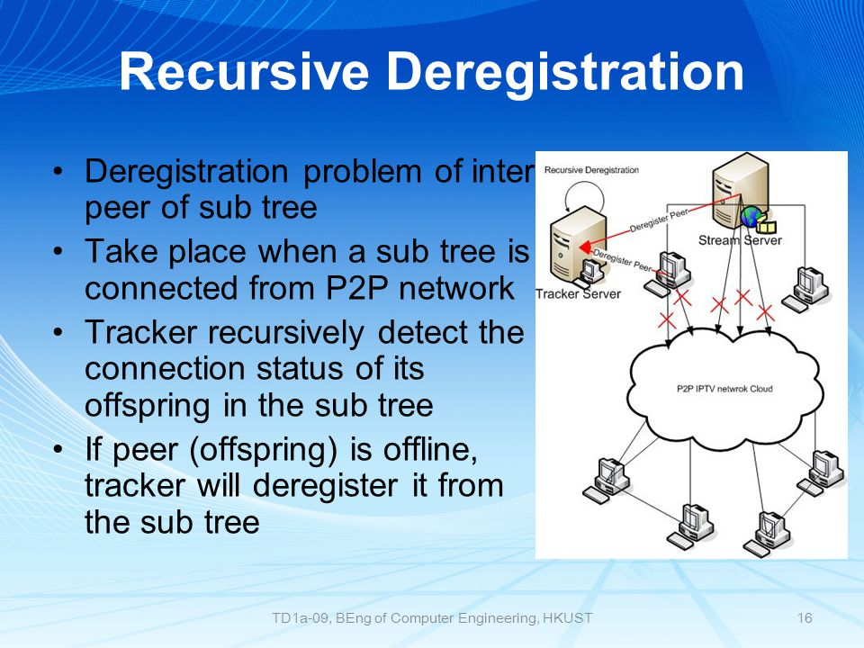 Recursive Deregistration Deregistration problem of inter peer of sub tree Take place when a sub tree is connected from P2P network Tracker recursively detect the connection status of its offspring in the sub tree If peer (offspring) is offline, tracker will deregister it from the sub tree 16TD1a-09, BEng of Computer Engineering, HKUST