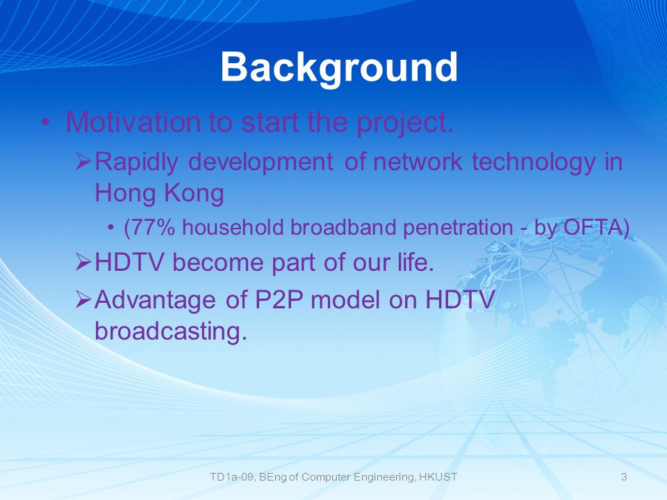 Purpose and Aim This project examines streaming IPTV over P2P networks with high quality(up to 1000kb/s) video in the different approaches, in order to create a low delay, high quality IPTV application, thus different P2P algorithms may be applied, such as pure push, hybrid, etc.