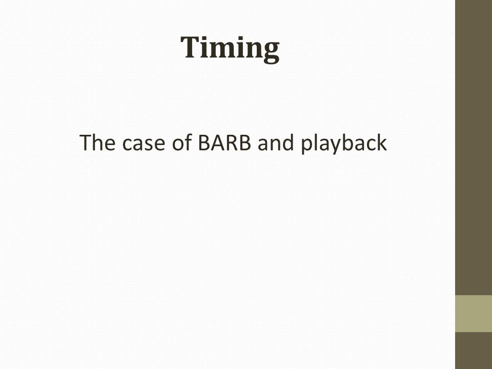 Timing The case of BARB and playback