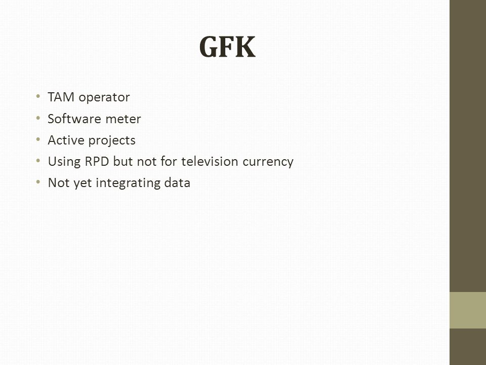 GFK TAM operator Software meter Active projects Using RPD but not for television currency Not yet integrating data
