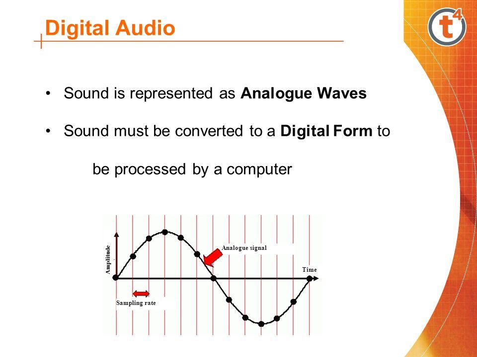 Digital Audio Sound wave is measured at regular intervals Process is called Sampling Number of samples /second is the Sampling Rate Sampling rate Analogue signal Time Amplitude