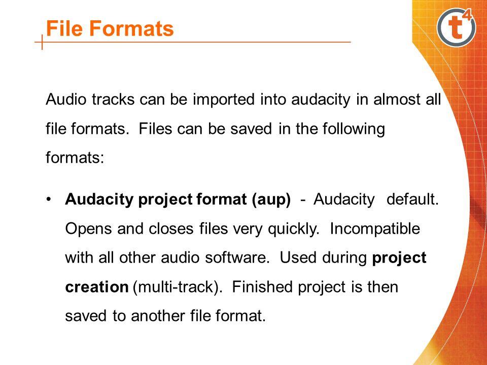 File Formats Windows wave format (wav) - Windows default.