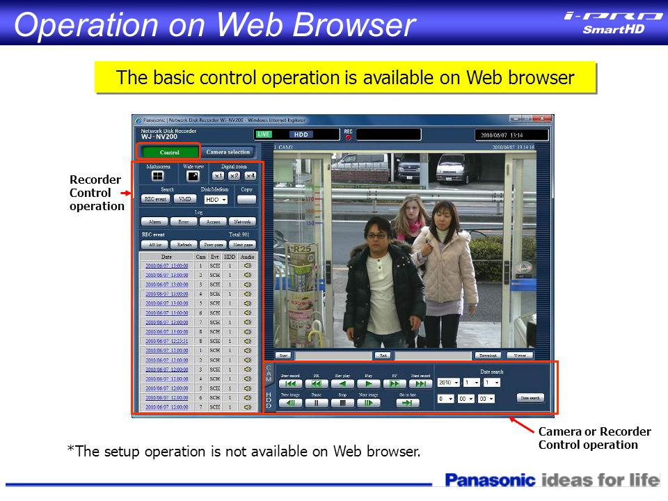 *The setup operation is not available on Web browser.