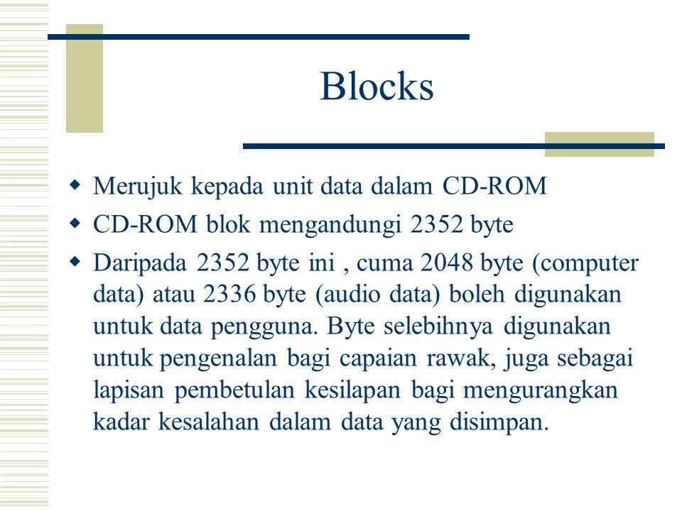 Blocks  Merujuk kepada unit data dalam CD-ROM  CD-ROM blok mengandungi 2352 byte  Daripada 2352 byte ini, cuma 2048 byte (computer data) atau 2336 byte (audio data) boleh digunakan untuk data pengguna.