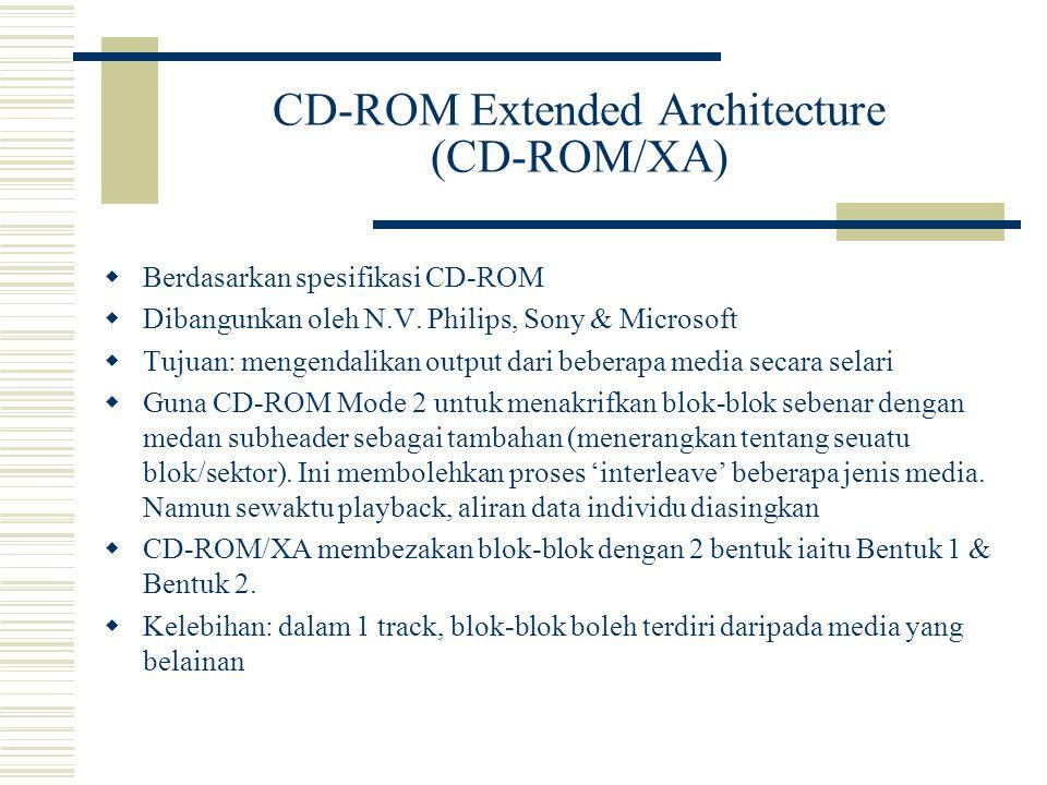 CD-ROM Extended Architecture (CD-ROM/XA)  Berdasarkan spesifikasi CD-ROM  Dibangunkan oleh N.V.