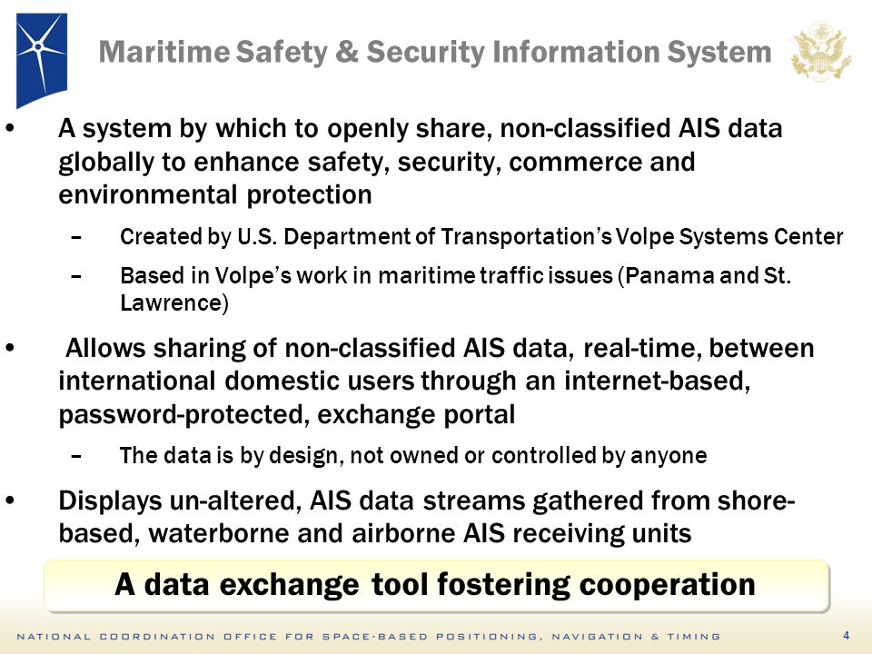 5 Maritime Safety & Security Information System Safety Statistics (via data logging & playback, snap shot files) Pilot navigation (ETA, Closest point of Approach, dead reckoning) Canal Transit Management (Panama Canal, St.