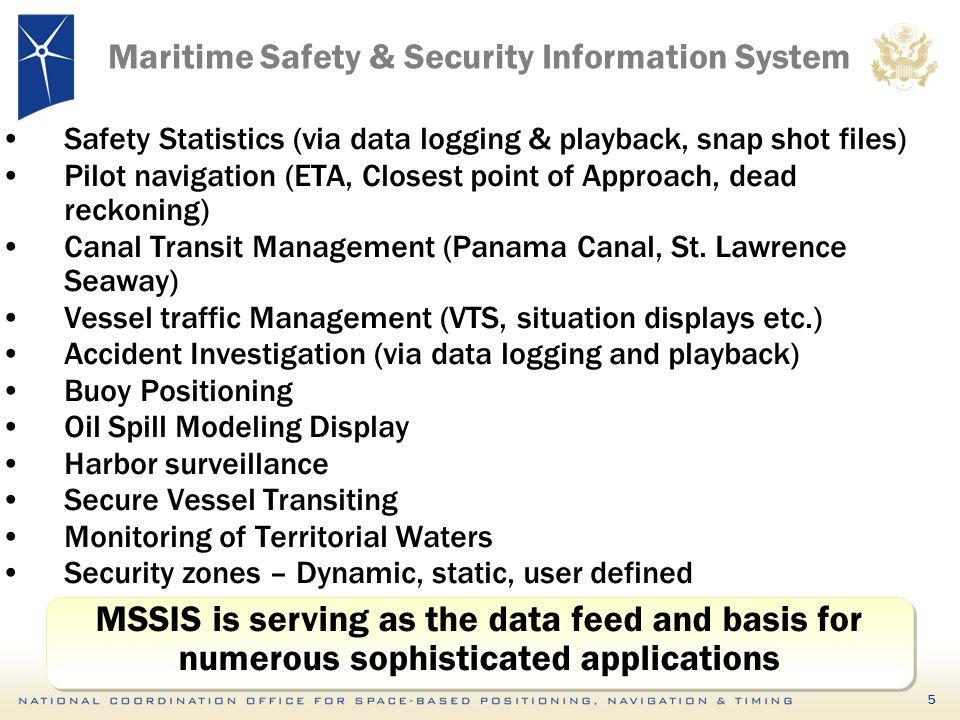 5 Maritime Safety & Security Information System Safety Statistics (via data logging & playback, snap shot files) Pilot navigation (ETA, Closest point