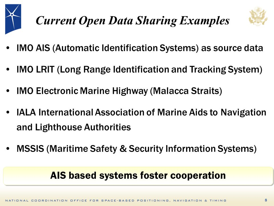 8 Current Open Data Sharing Examples IMO AIS (Automatic Identification Systems) as source data IMO LRIT (Long Range Identification and Tracking System