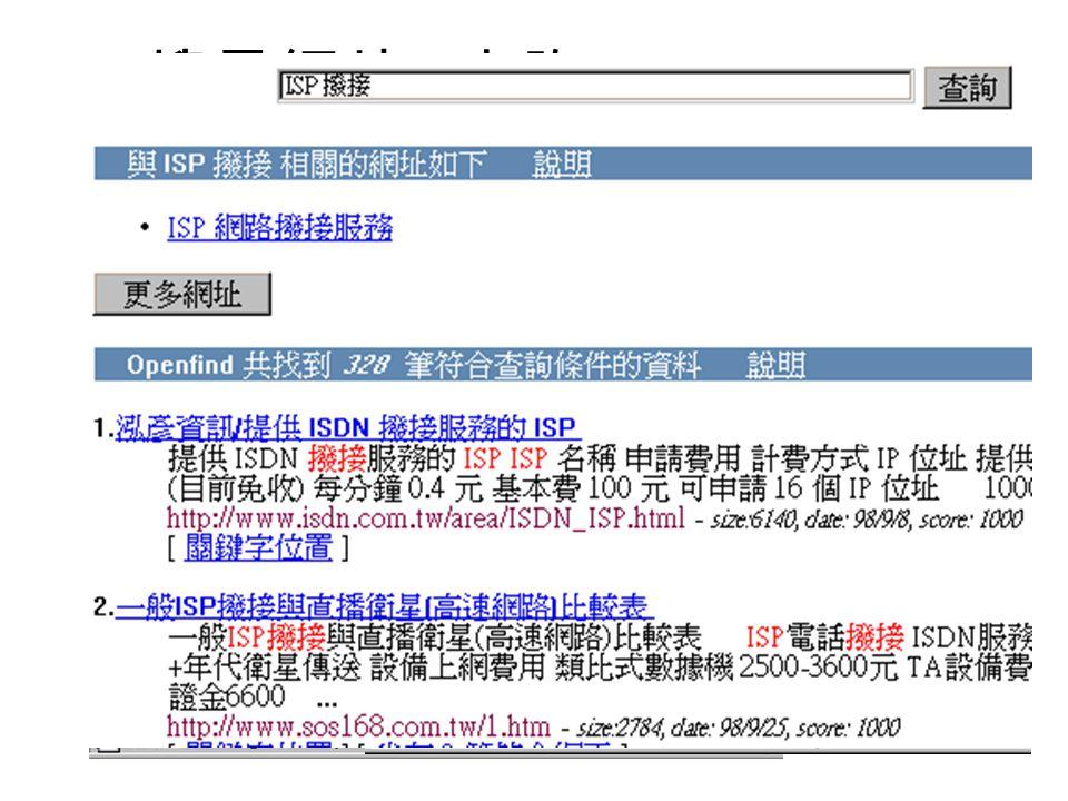 搜尋網站 ─ 分類 分類式 http://www.yam.com.tw 蕃薯藤網際網路資源索引 http://www.kimo.com.tw 奇摩站 http://www.yahoo.com.tw 雅虎中文 http://www.sina.com.tw 華淵資訊 Sina 站 全文檢索式 http: