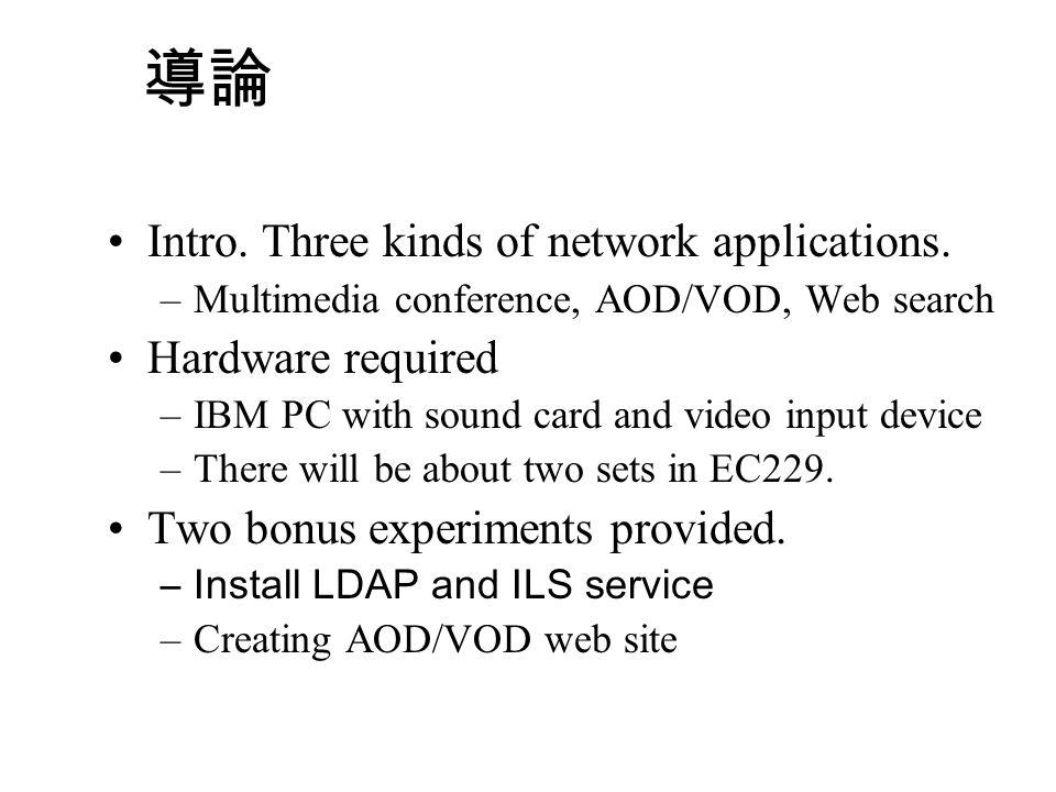 內容 Introduction Microsoft NetMeeting AOD/VOD on Web Web Searching Engine Reference