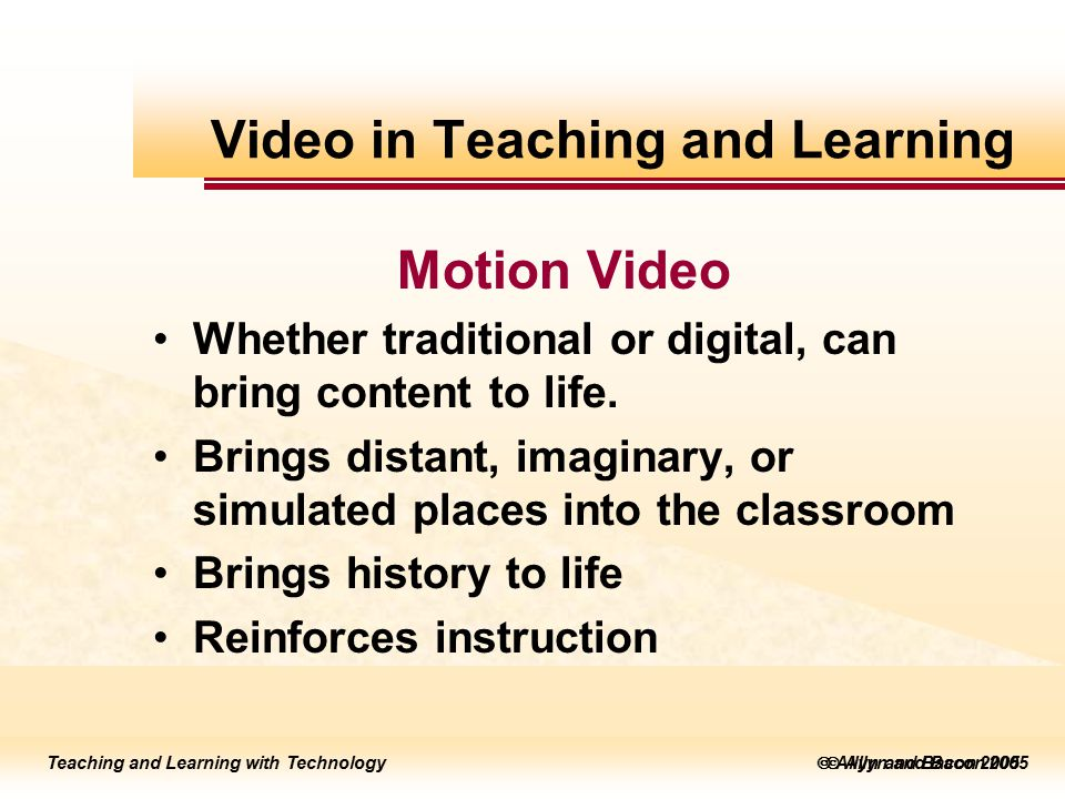 to edit Master title style  Allyn and Bacon 2002 Teaching and Learning with Technology to edit Master title style  Allyn and Bacon 2005 Teaching and