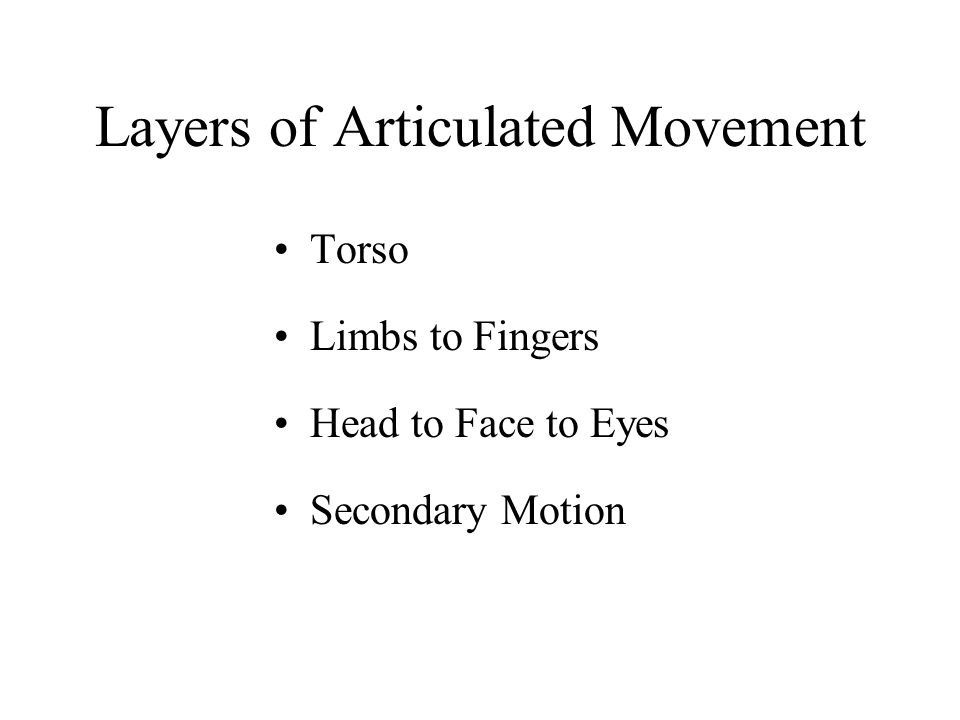 Layers of Articulated Movement Torso Limbs to Fingers Head to Face to Eyes Secondary Motion