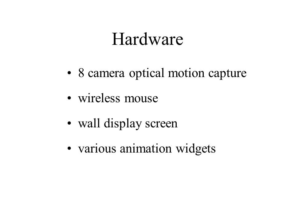 Hardware 8 camera optical motion capture wireless mouse wall display screen various animation widgets