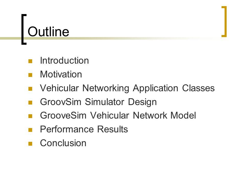 Outline Introduction Motivation Vehicular Networking Application Classes GroovSim Simulator Design GrooveSim Vehicular Network Model Performance Resul