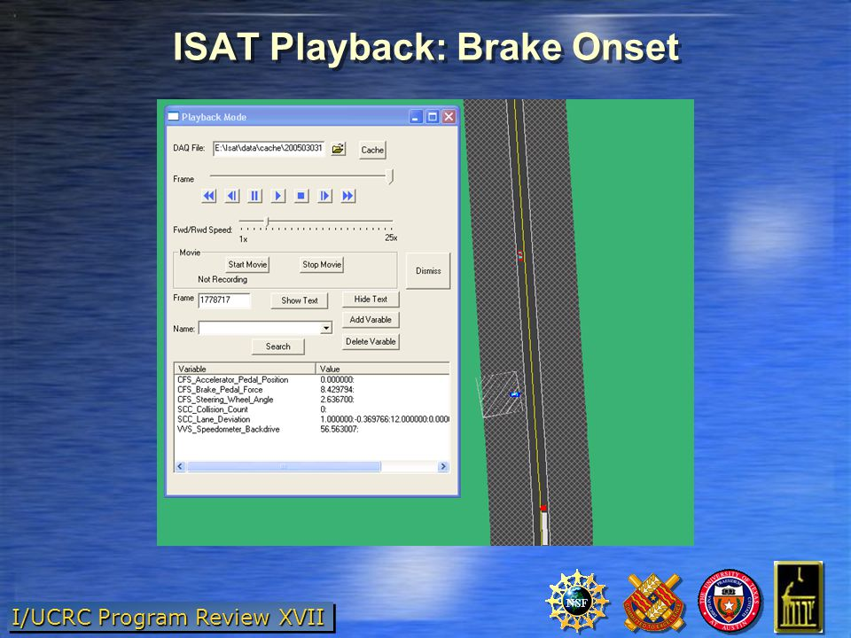 I/UCRC Program Review XVII ISAT Playback: Brake Onset