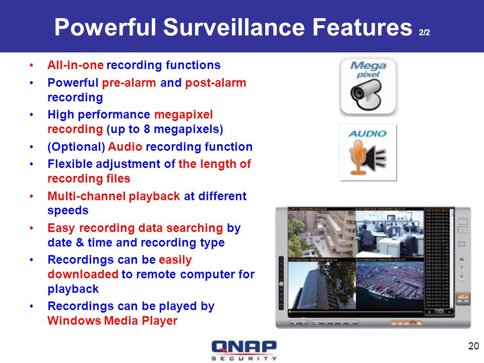 Powerful Surveillance Features 2/2 All-in-one recording functions Powerful pre-alarm and post-alarm recording High performance megapixel recording (up