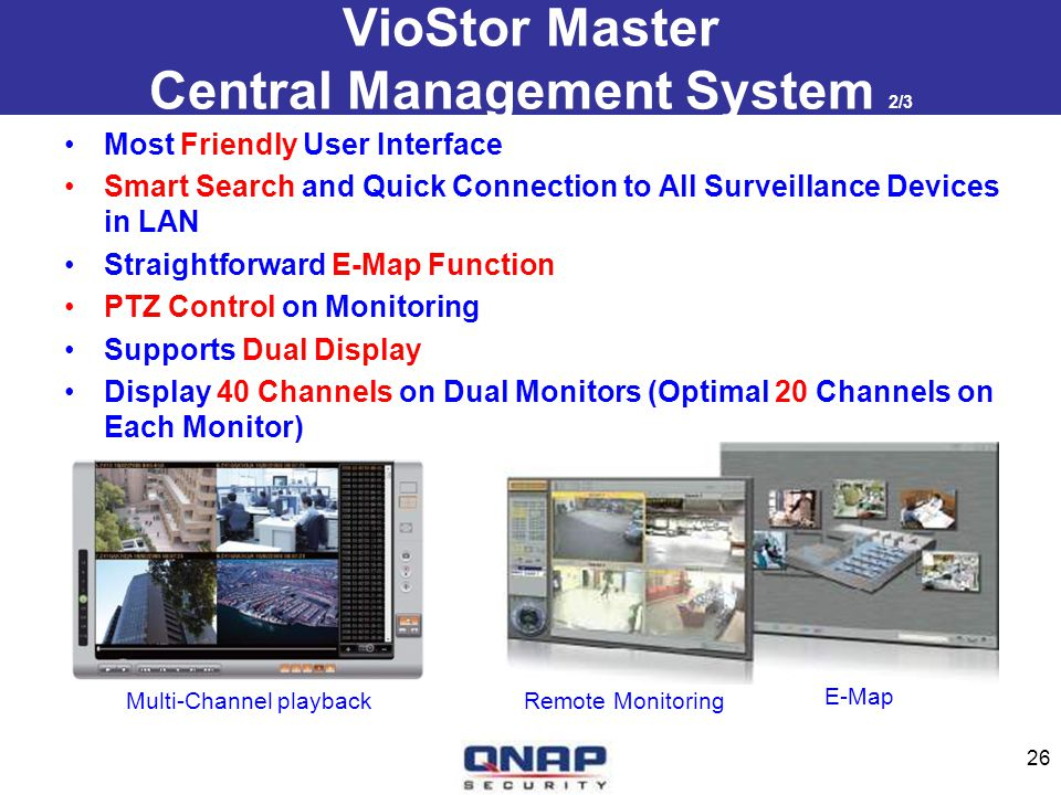 VioStor Master Central Management System 2/3 Most Friendly User Interface Smart Search and Quick Connection to All Surveillance Devices in LAN Straigh