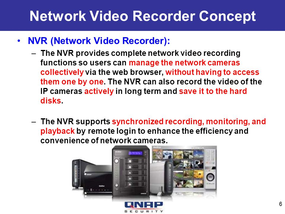 Network Video Recorder Concept NVR (Network Video Recorder): –The NVR provides complete network video recording functions so users can manage the netw