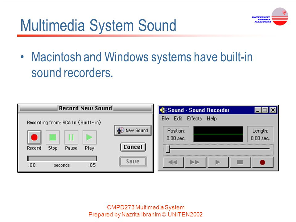 CMPD273 Multimedia System Prepared by Nazrita Ibrahim © UNITEN2002 Multimedia System Sound Macintosh and Windows systems have built-in sound recorders
