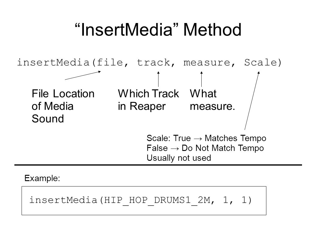 InsertMedia Method insertMedia(file, track, measure, Scale) File Location of Media Sound Which Track in Reaper What measure.